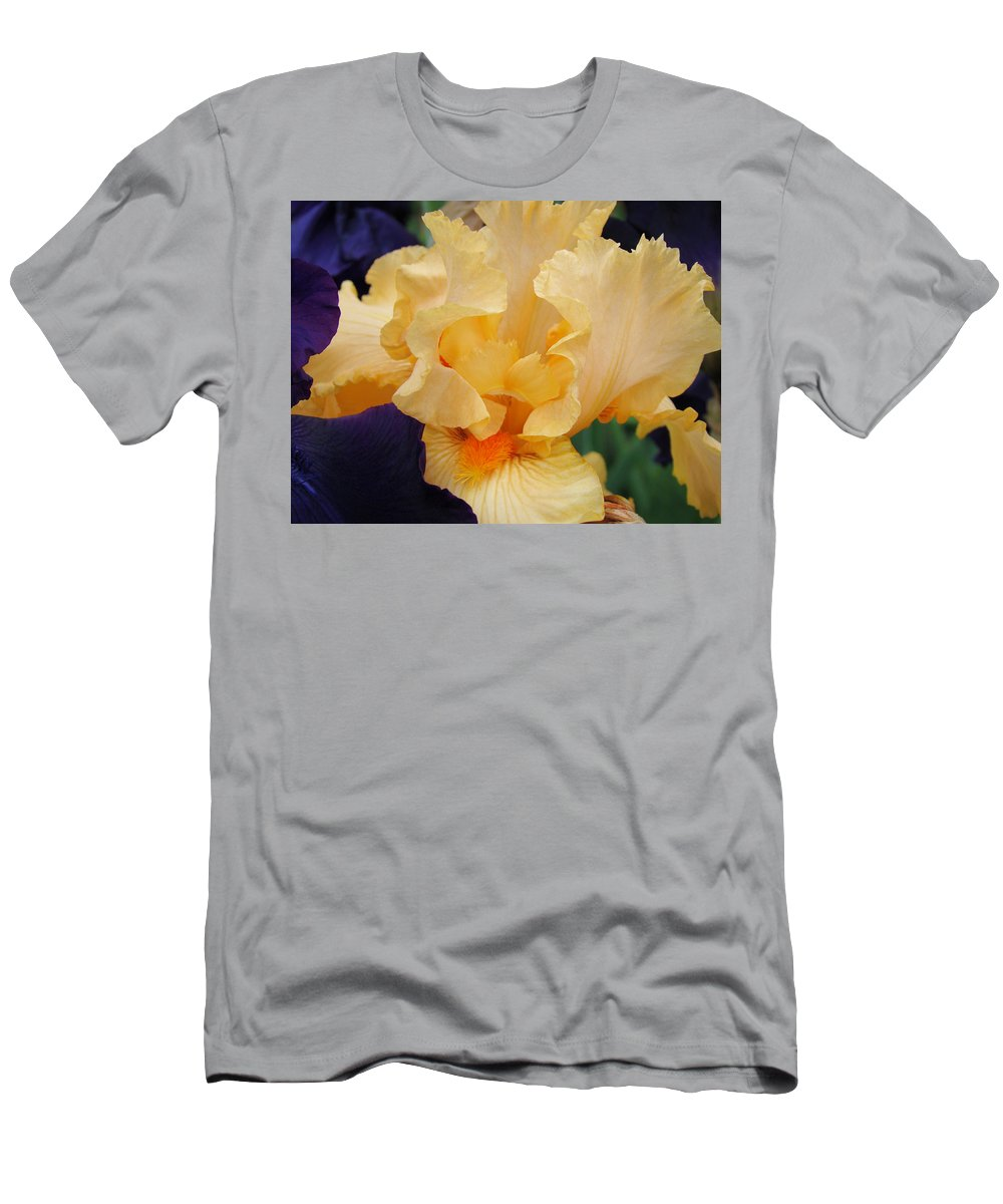 �irises Artwork� Men's T-Shirt (Athletic Fit) featuring the photograph Irises Art Prints Peach Iris Flowers Artwork Floral Botanical Art Baslee Troutman by Baslee Troutman