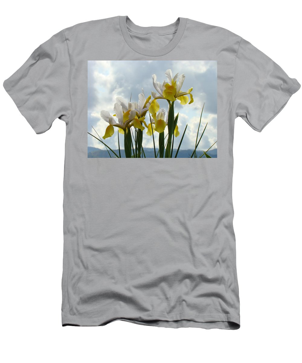 �irises Artwork� Men's T-Shirt (Athletic Fit) featuring the photograph Irises Yellow White Iris Flowers Storm Clouds Sky Art Prints Baslee Troutman by Baslee Troutman