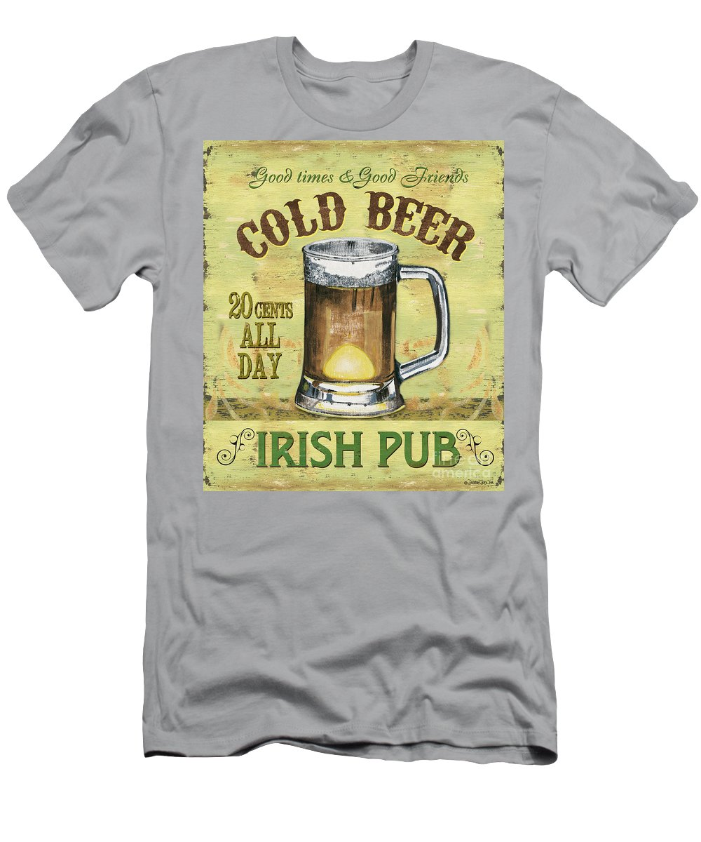 Beer Men's T-Shirt (Athletic Fit) featuring the painting Irish Pub by Debbie DeWitt