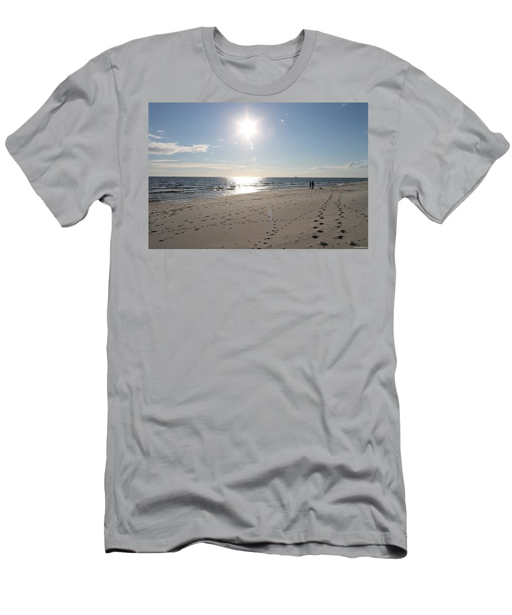 Beach Men's T-Shirt (Athletic Fit) featuring the photograph Island Beachwalkers by Laura Martin