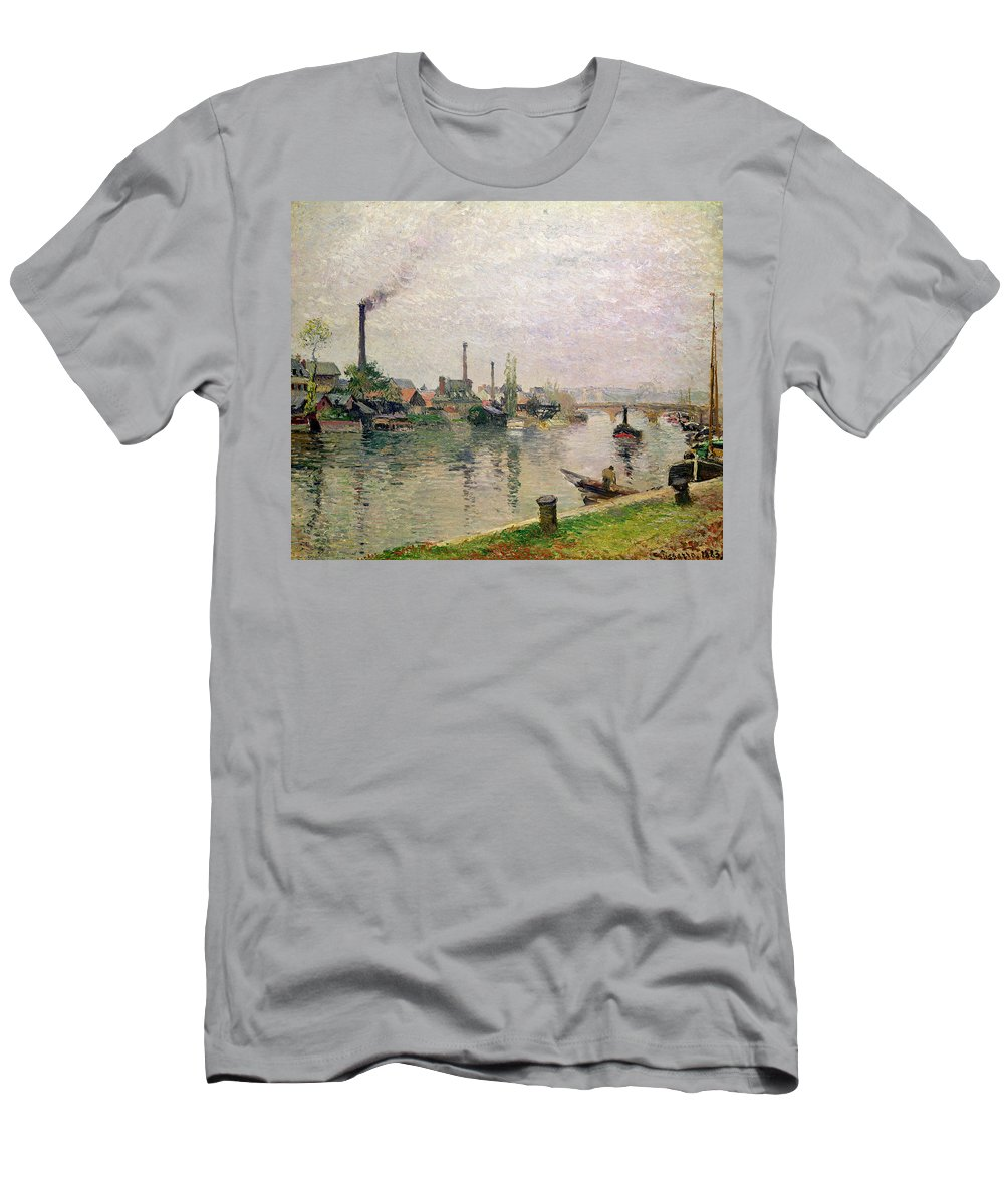 Ile Men's T-Shirt (Athletic Fit) featuring the painting Island Of The Cross At Rouen by Camille Pissarro