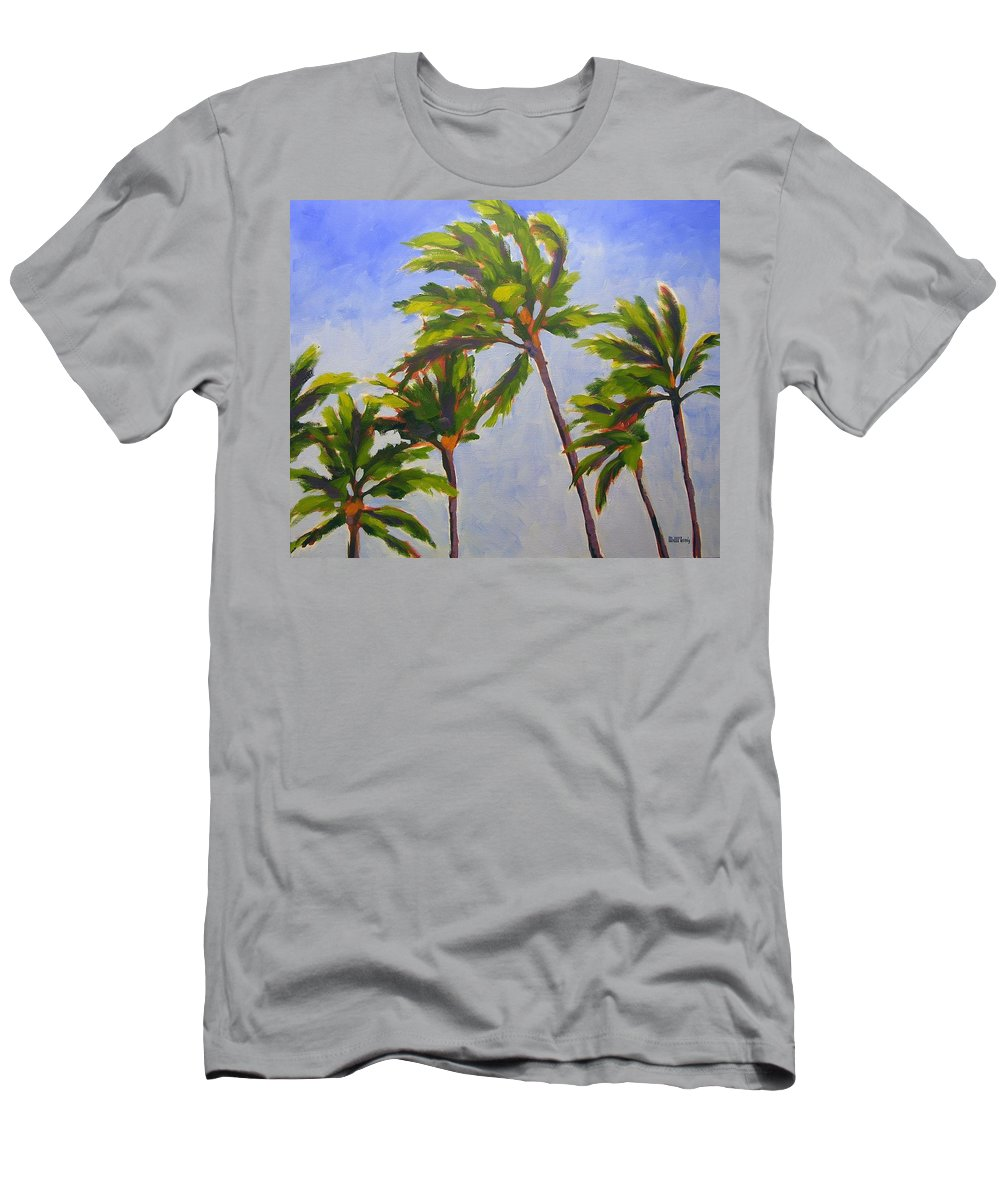 Oil Men's T-Shirt (Athletic Fit) featuring the painting Island Palms by Mary McInnis