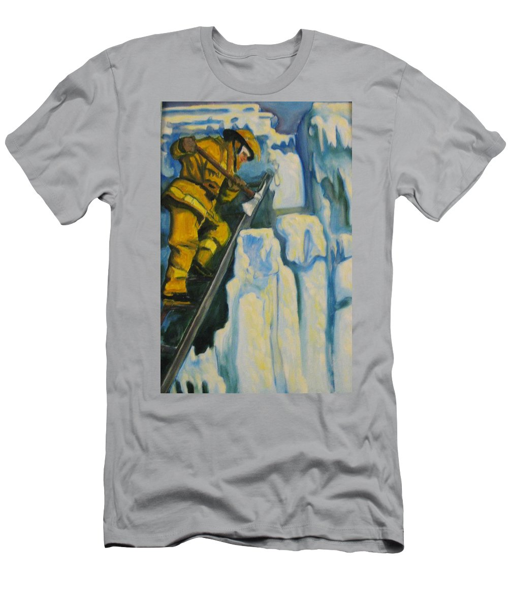 Firefighters Men's T-Shirt (Athletic Fit) featuring the painting Its Not Over Till Its Over by John Malone