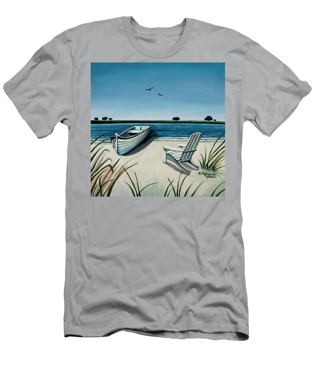 Beach Men's T-Shirt (Athletic Fit) featuring the painting Its Summertime by Elizabeth Robinette Tyndall