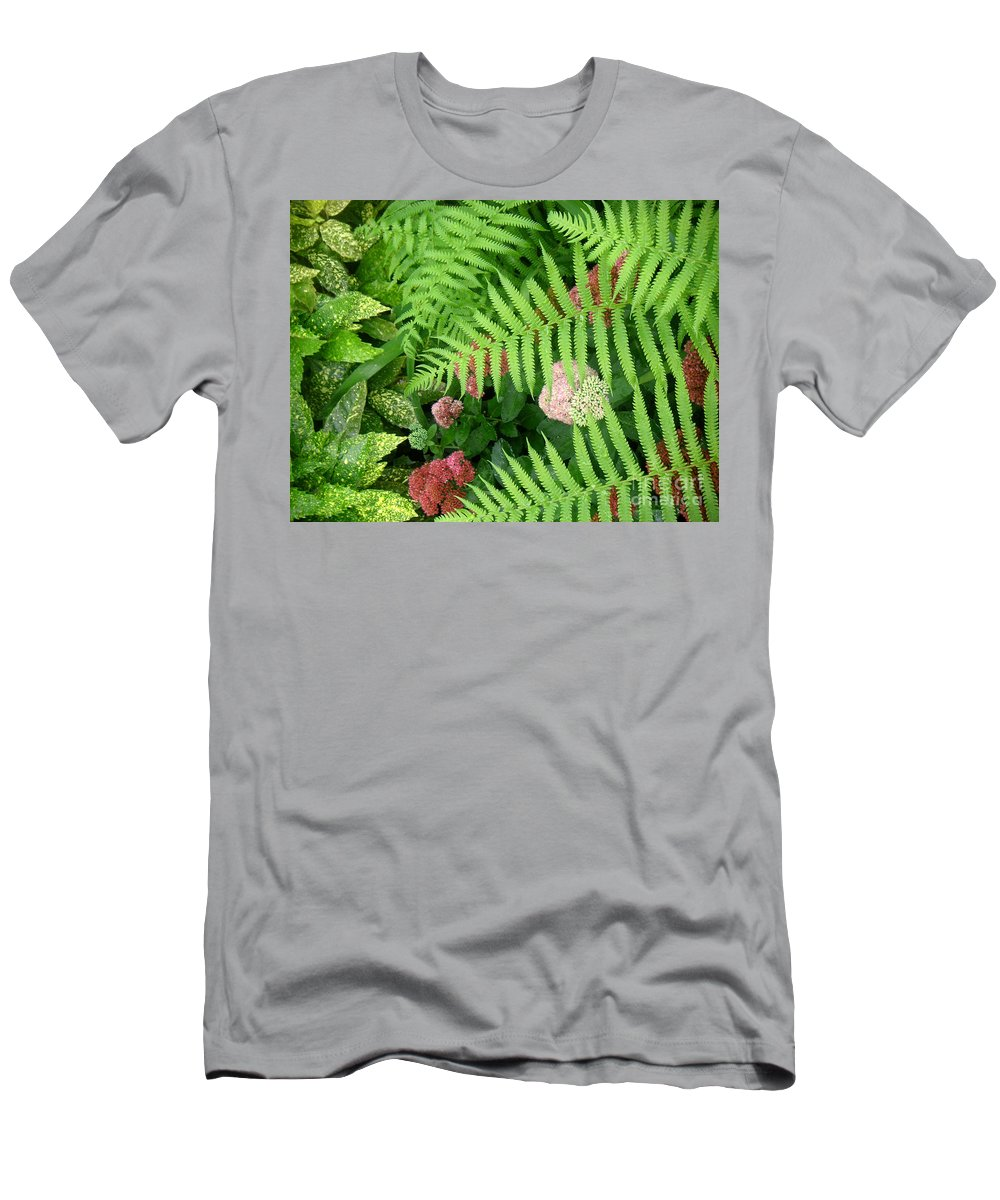 Nature Men's T-Shirt (Athletic Fit) featuring the photograph Jacqueline's Garden - Camaraderie Of Textures by Lucyna A M Green