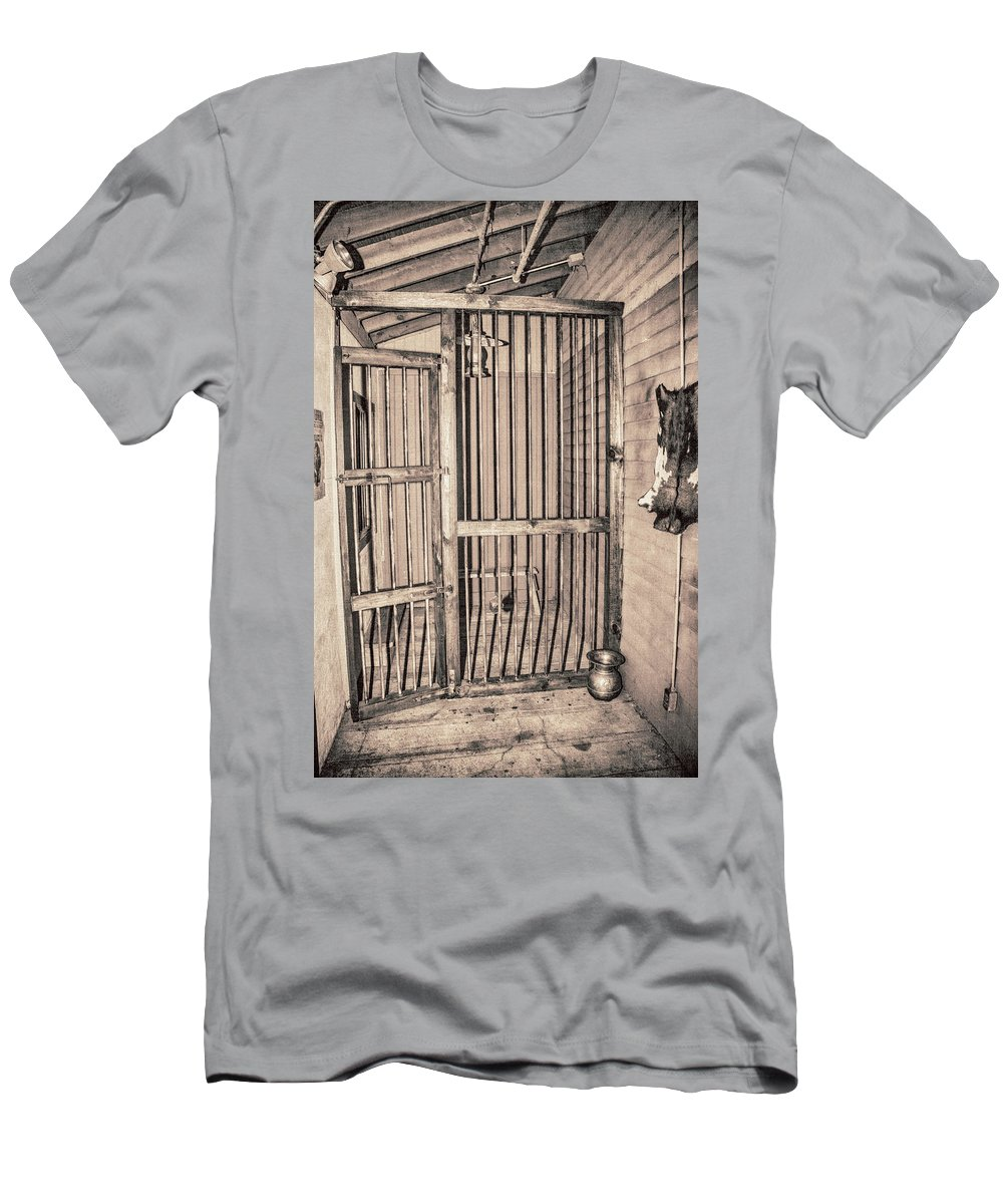 Western Men's T-Shirt (Athletic Fit) featuring the photograph Jail House Interior by Pamela Williams