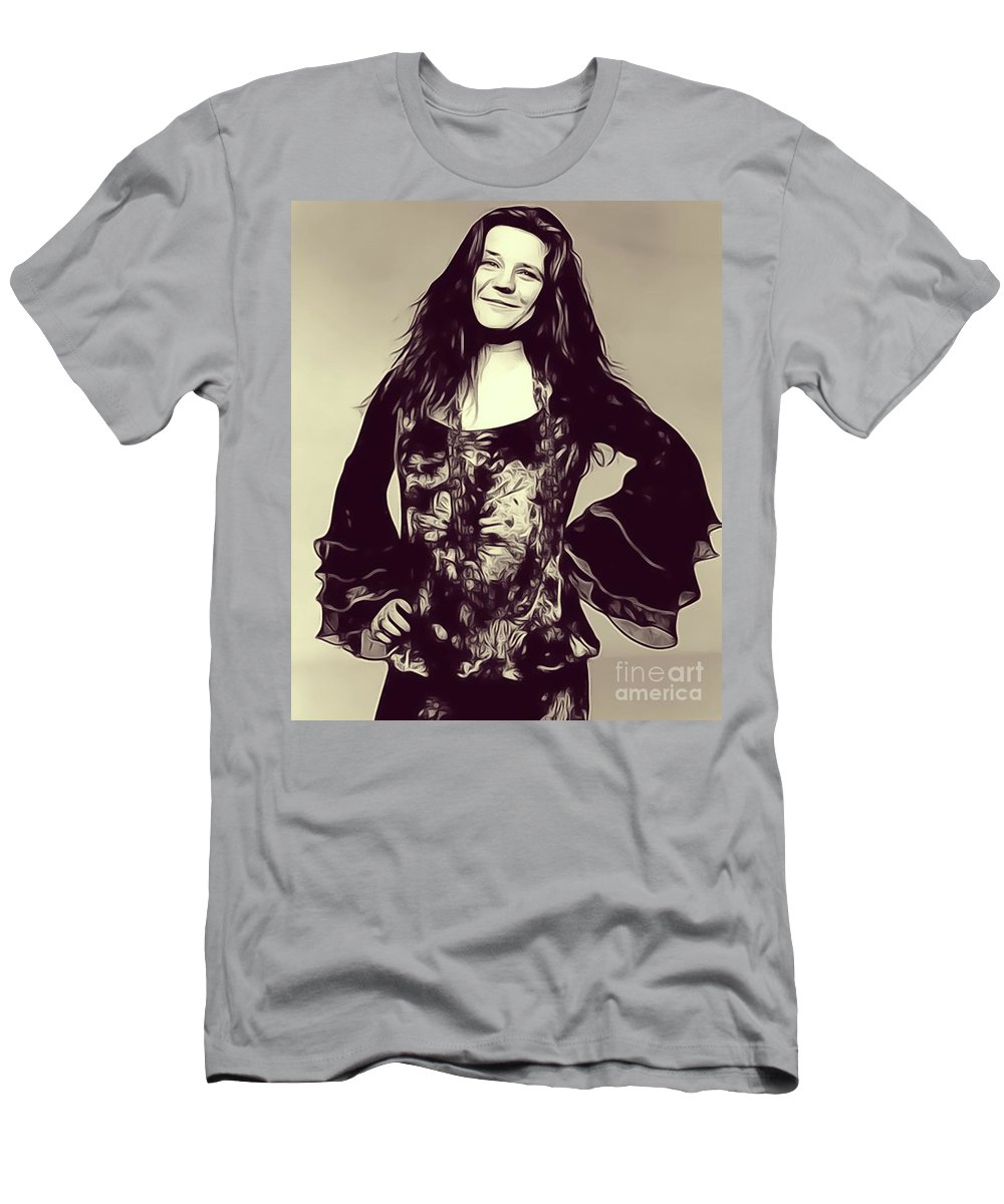 Janis Men's T-Shirt (Athletic Fit) featuring the digital art Janis Joplin, Music Legend by John Springfield