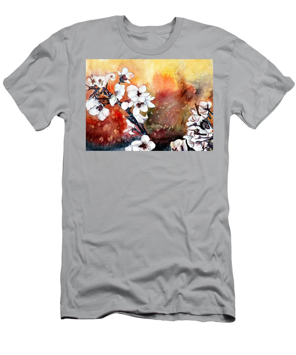 Watercolor T-Shirt featuring the painting Japanese cherry blossom abstract flowers by Derek Mccrea