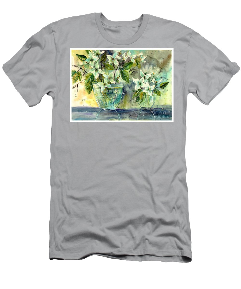Cosmic T-Shirt featuring the painting Jasmine In Glass by Suzann Sines