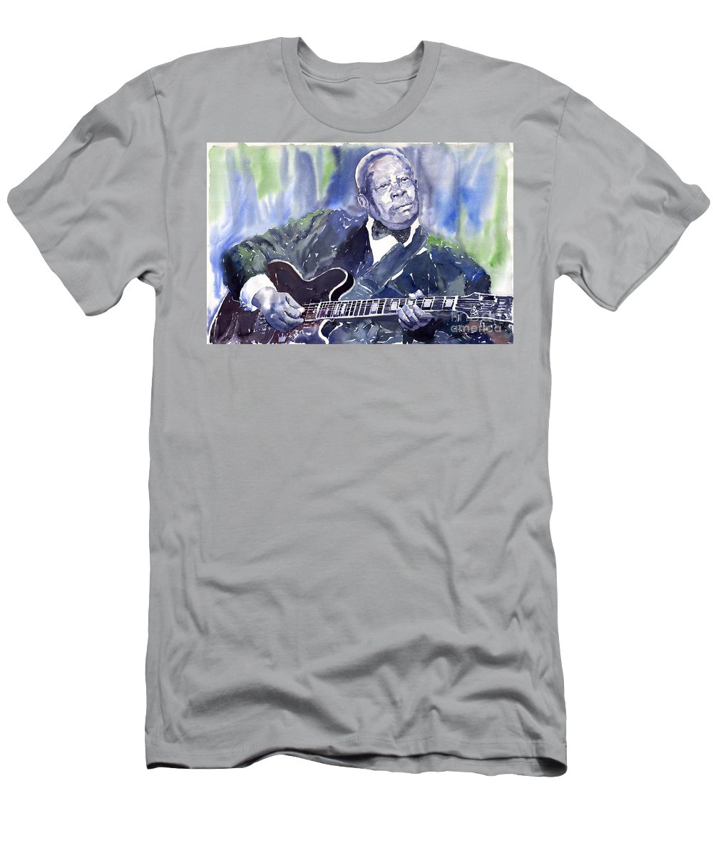 Jazz Bbking Music Watercolor Watercolour Guitarist Portret Men's T-Shirt (Athletic Fit) featuring the painting Jazz B B King 01 by Yuriy Shevchuk