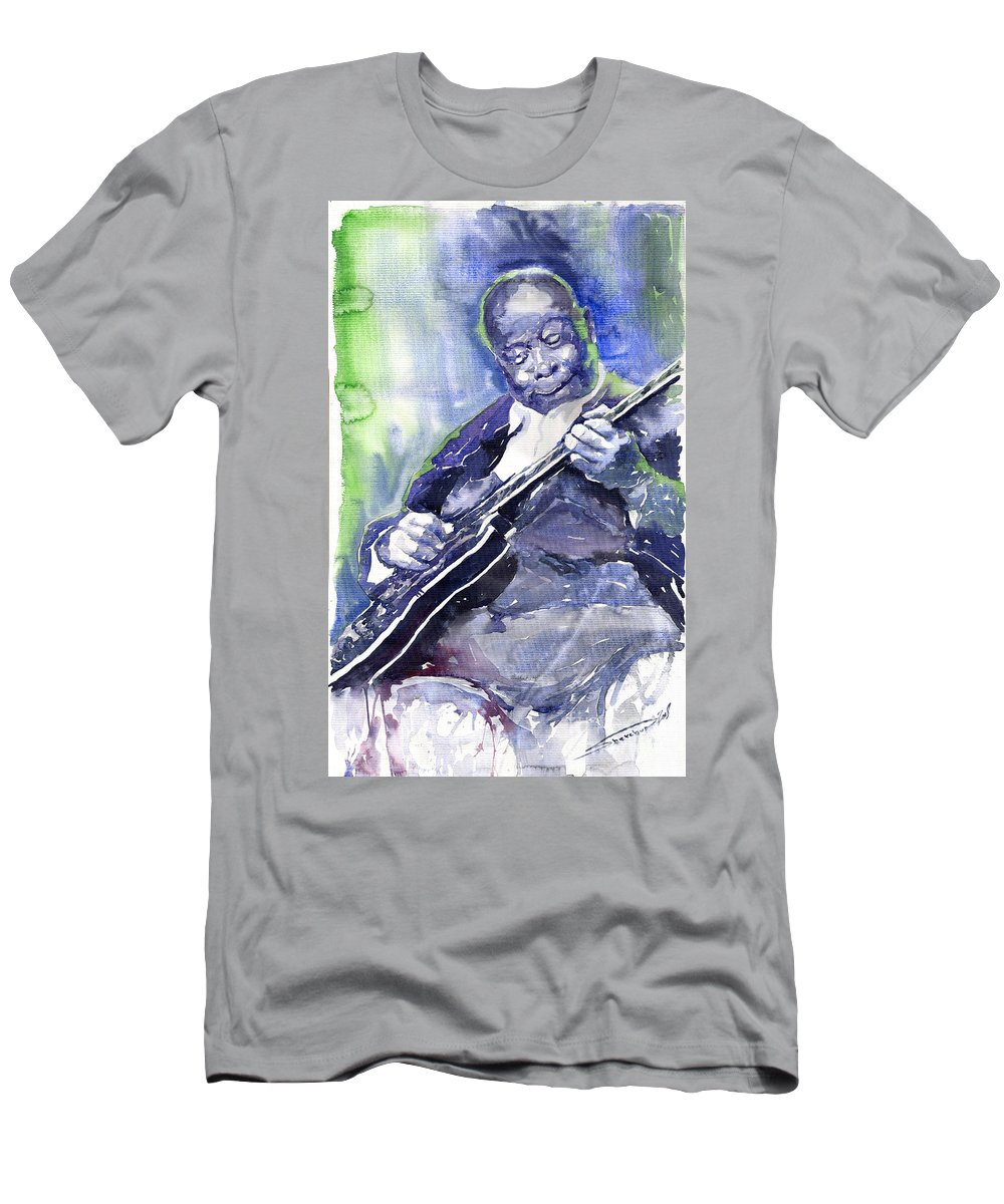 Jazz Men's T-Shirt (Athletic Fit) featuring the painting Jazz B B King 02 by Yuriy Shevchuk