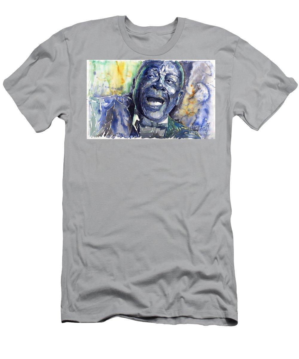 Jazz Men's T-Shirt (Athletic Fit) featuring the painting Jazz B.b.king 04 Blue by Yuriy Shevchuk