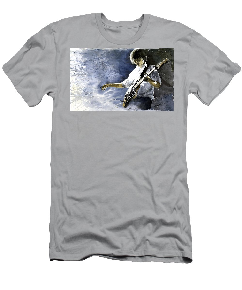 Figurativ Men's T-Shirt (Athletic Fit) featuring the painting Jazz Guitarist Last Accord by Yuriy Shevchuk
