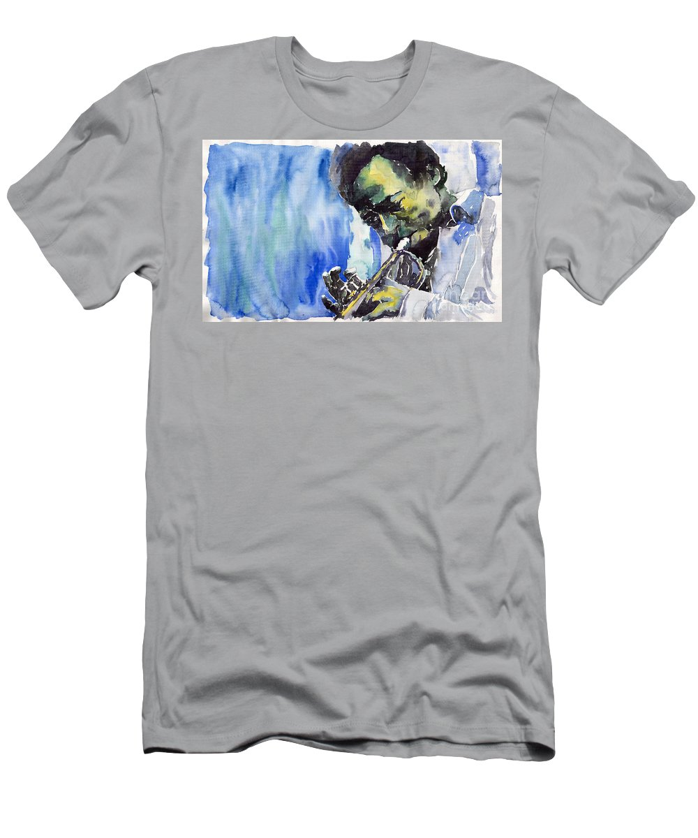 Men's T-Shirt (Athletic Fit) featuring the painting Jazz Miles Davis 5 by Yuriy Shevchuk