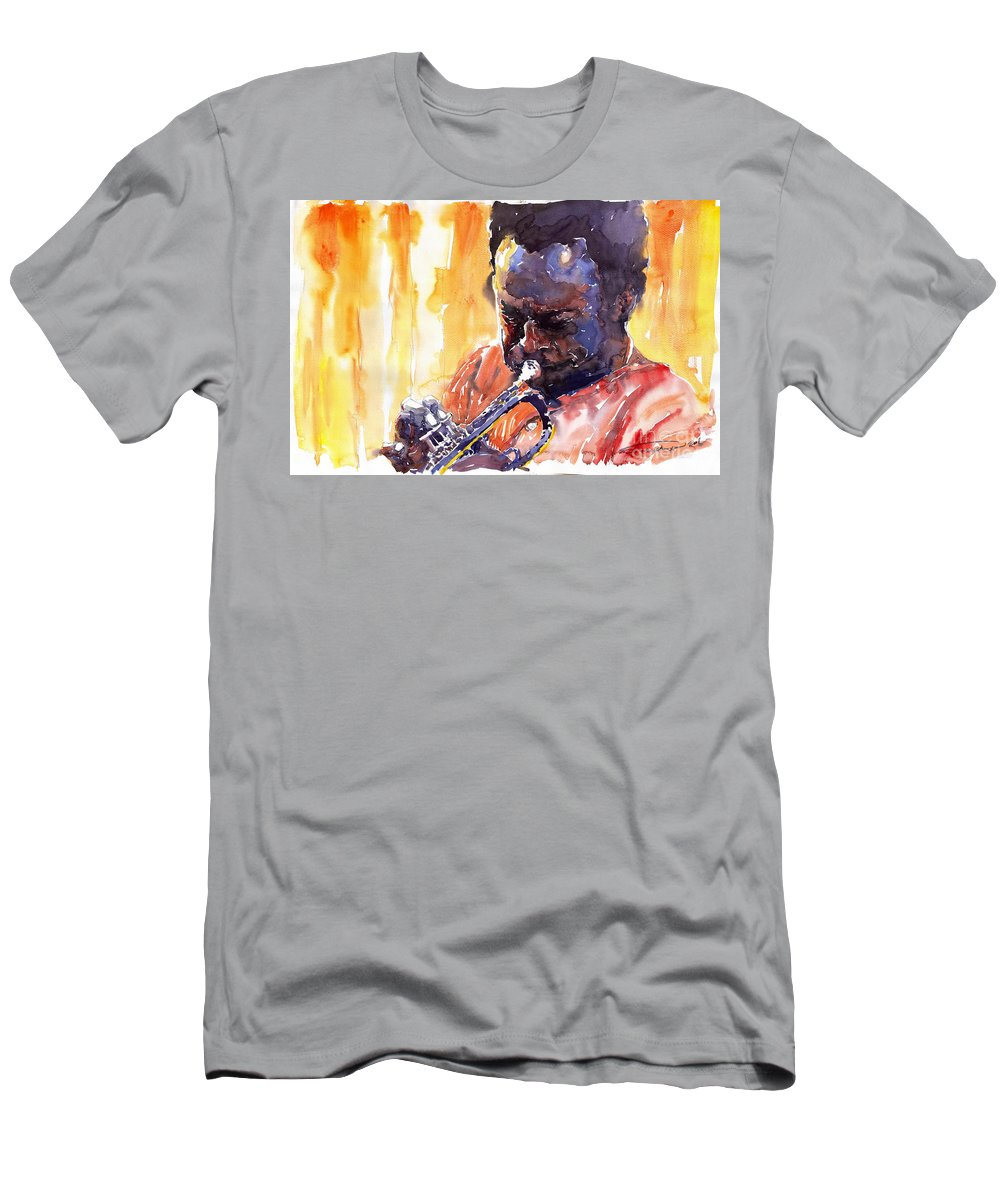 Jazz Miles Davis Music Watercolor Watercolour Figurativ Portret Trumpeter Men's T-Shirt (Athletic Fit) featuring the painting Jazz Miles Davis 8 by Yuriy Shevchuk