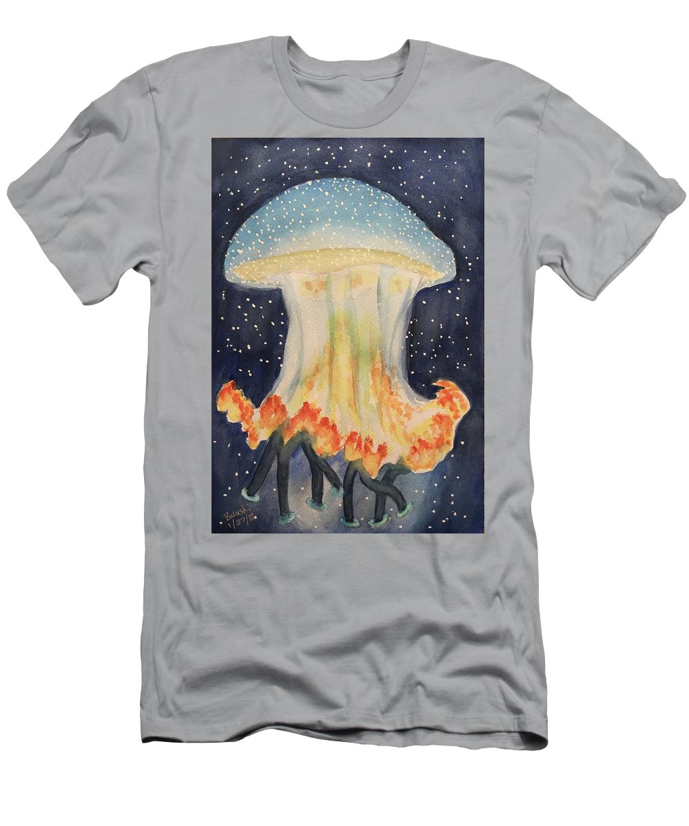 Watercolour Seascape Jelly Fish Underwater Teal Blues & Orange Roughy Men's T-Shirt (Athletic Fit) featuring the painting Jelly by Belinda Balaski