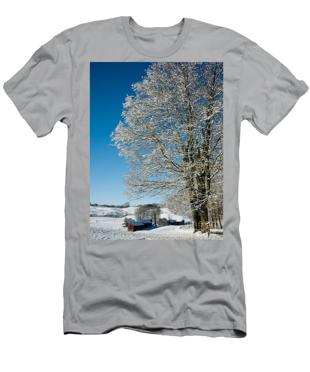 Christmas T-Shirt featuring the photograph Jenne Farm Winter In Vermont by Edward Fielding