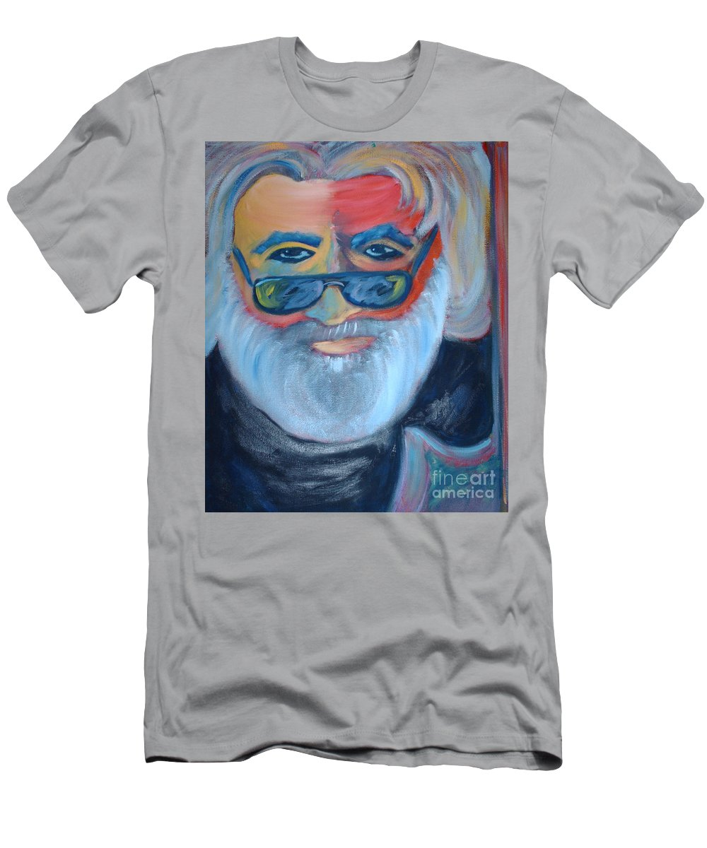 Jerry Garcia Men's T-Shirt (Athletic Fit) featuring the painting Jerry by Michael Mooney