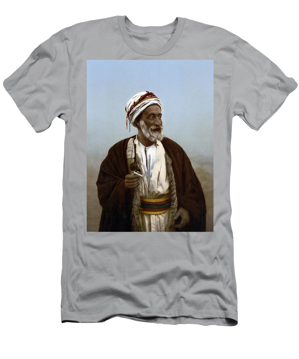 Photograph Men's T-Shirt (Athletic Fit) featuring the photograph Jerusalem - Sheik Of Palestinian Village by Munir Alawi