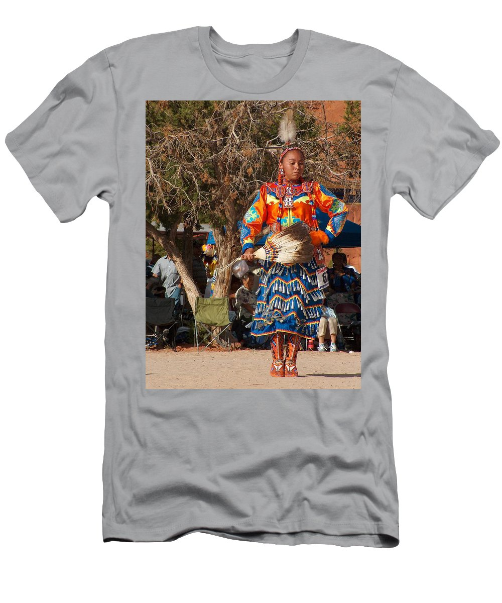 Pow-wow Dancer Men's T-Shirt (Athletic Fit) featuring the photograph Jingle Dress Dancer At Star Feather Pow-wow by Tim McCarthy