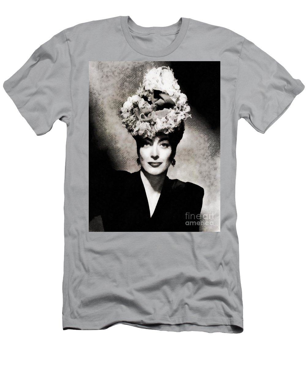 Hollywood Men's T-Shirt (Athletic Fit) featuring the painting Joan Crawford, Hollywood Legend By John Springfield by John Springfield