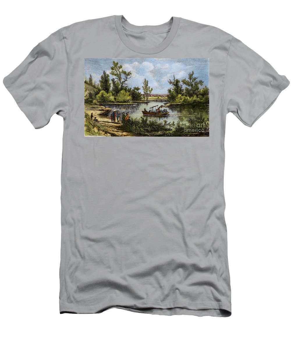 1796 Men's T-Shirt (Athletic Fit) featuring the drawing John Fitch Steamboat, 1796 by Granger