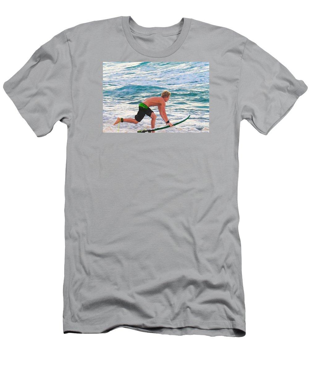 John John Florence-pro Surfer Men's T-Shirt (Athletic Fit) featuring the photograph John John Florence - Surfing Pro by Scott Cameron