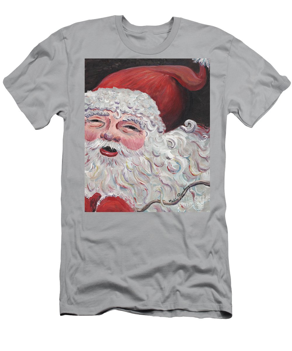 Santa Men's T-Shirt (Athletic Fit) featuring the painting Jolly Santa by Nadine Rippelmeyer