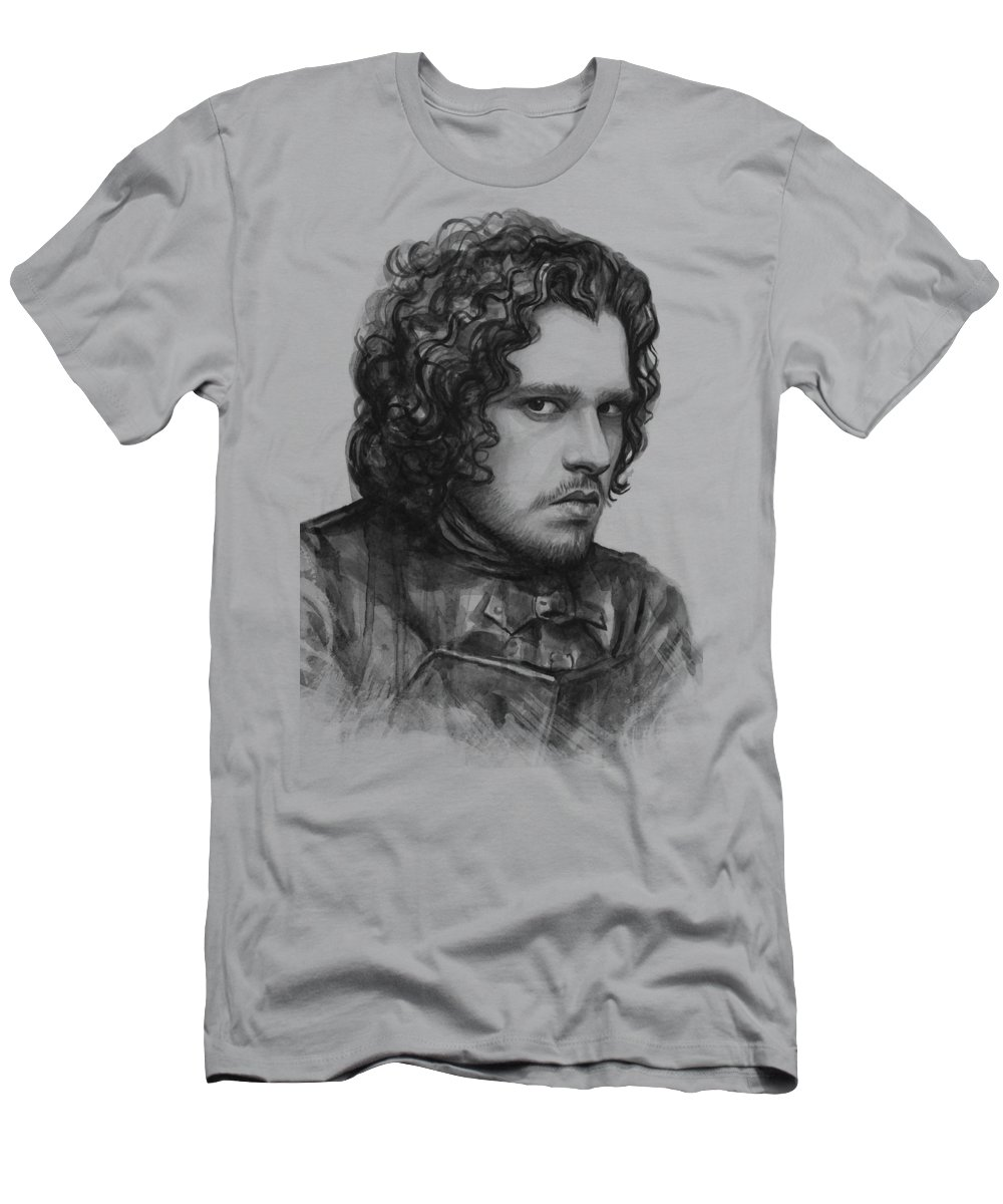 Watercolor Men's T-Shirt (Athletic Fit) featuring the painting Jon Snow Game Of Thrones by Olga Shvartsur