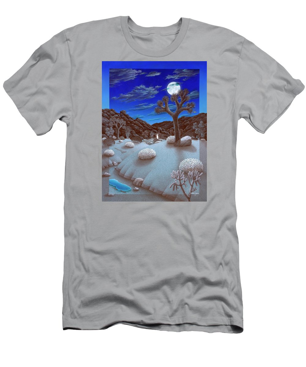Landscape Men's T-Shirt (Athletic Fit) featuring the painting Joshua Tree At Night by Snake Jagger