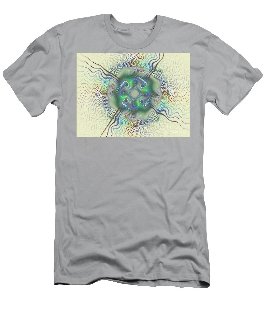 Fractal Men's T-Shirt (Athletic Fit) featuring the mixed media Journey World by Deborah Benoit