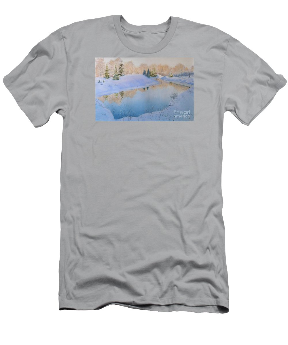 Landscape Men's T-Shirt (Athletic Fit) featuring the painting Junction Creek by Lynn Quinn