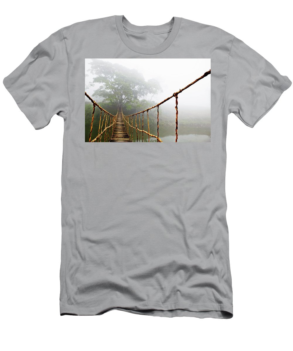 Rope Bridge T-Shirt featuring the photograph Jungle Journey by Skip Nall