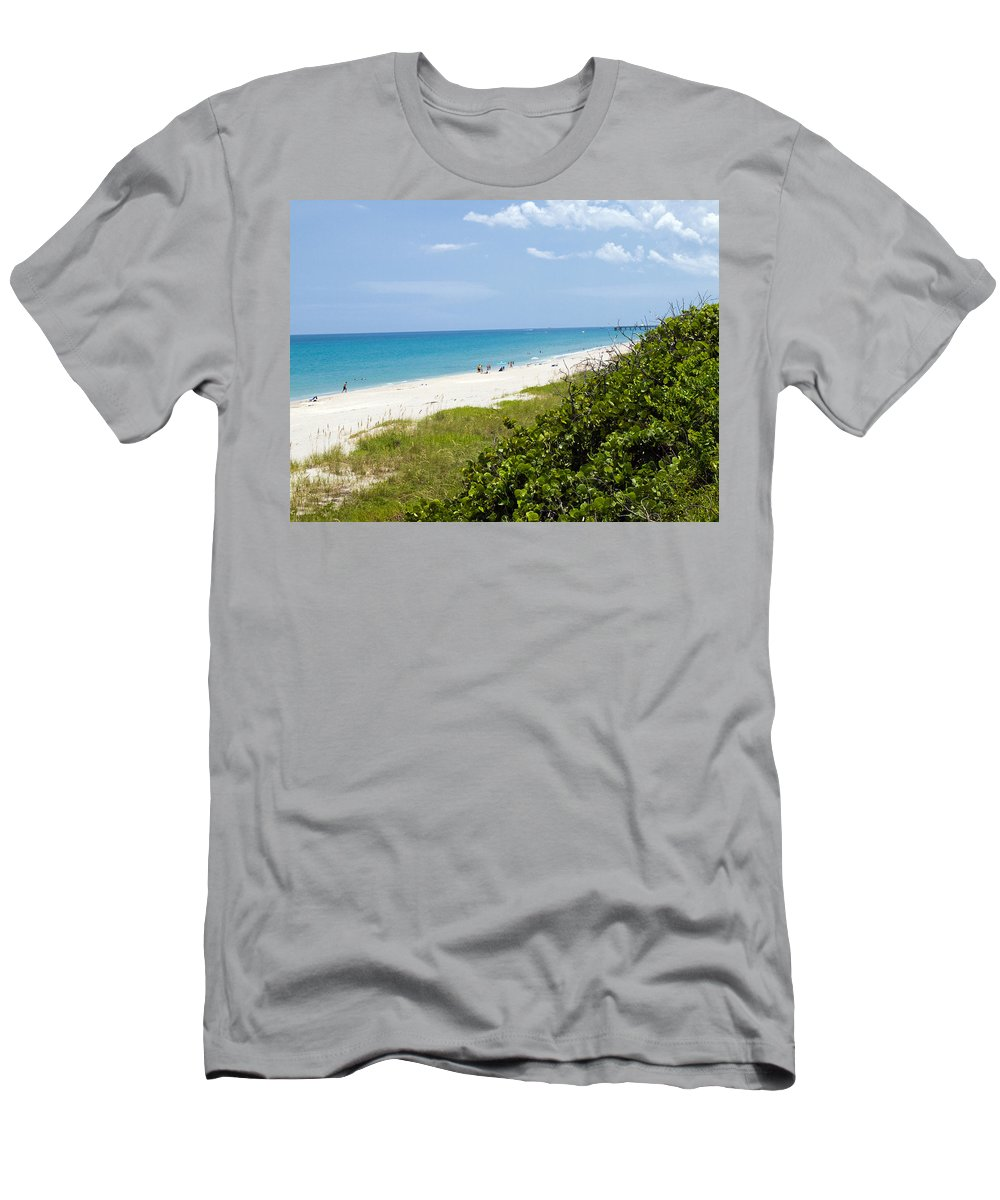 Juno; Florida; Loxahatchee; River; Jupiter; Inlet; Swim; Swimming; Children; Girl; Boy; Woman; Man; Men's T-Shirt (Athletic Fit) featuring the photograph Juno Beach On The East Coast Of Florida by Allan Hughes