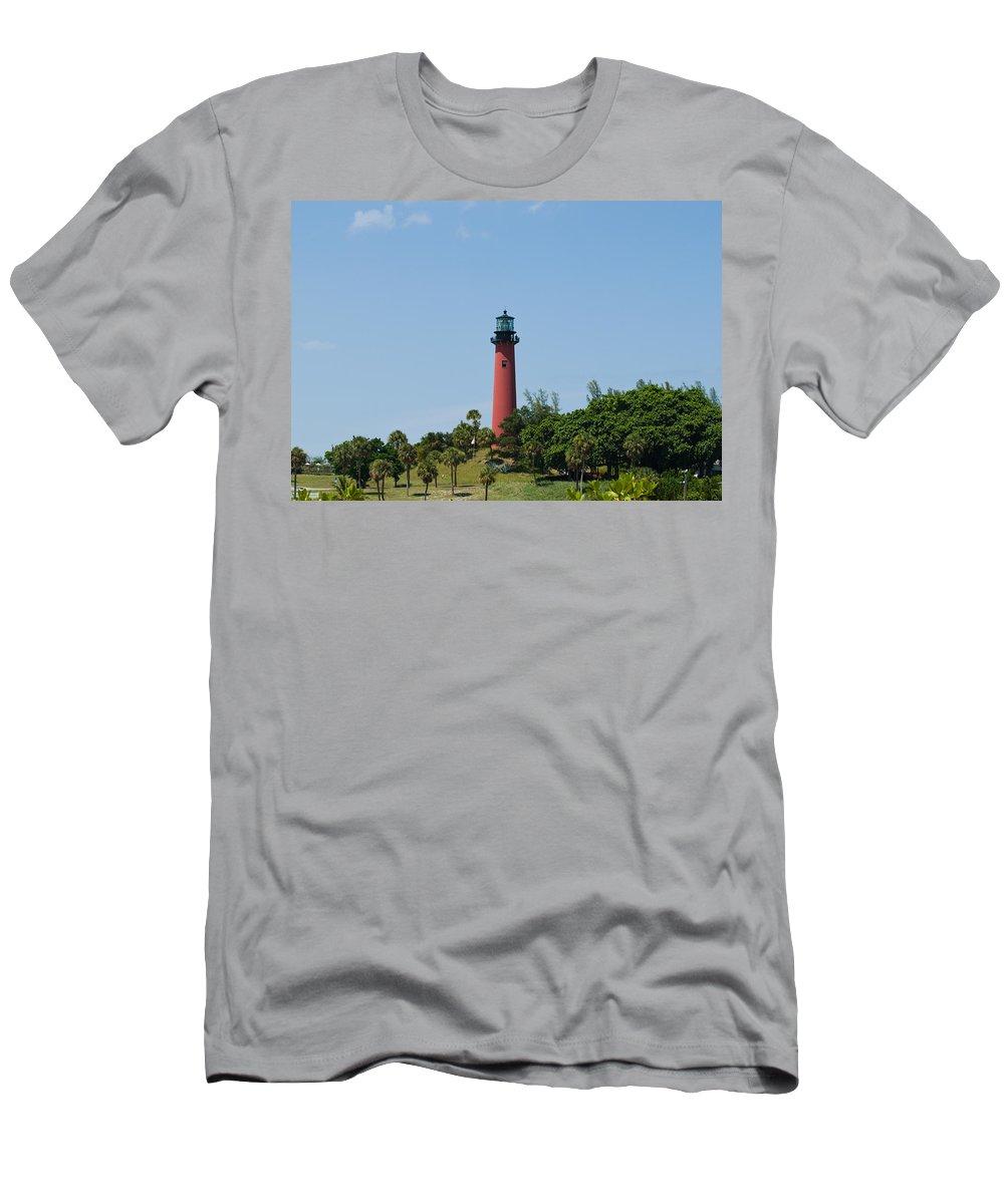 Florida; Juptier; Inlet; Loxahatchee; River; Atlantic; Coast; Shore; Beach; Light; Lighthouse; Beaco Men's T-Shirt (Athletic Fit) featuring the photograph Jupiter Florida by Allan Hughes