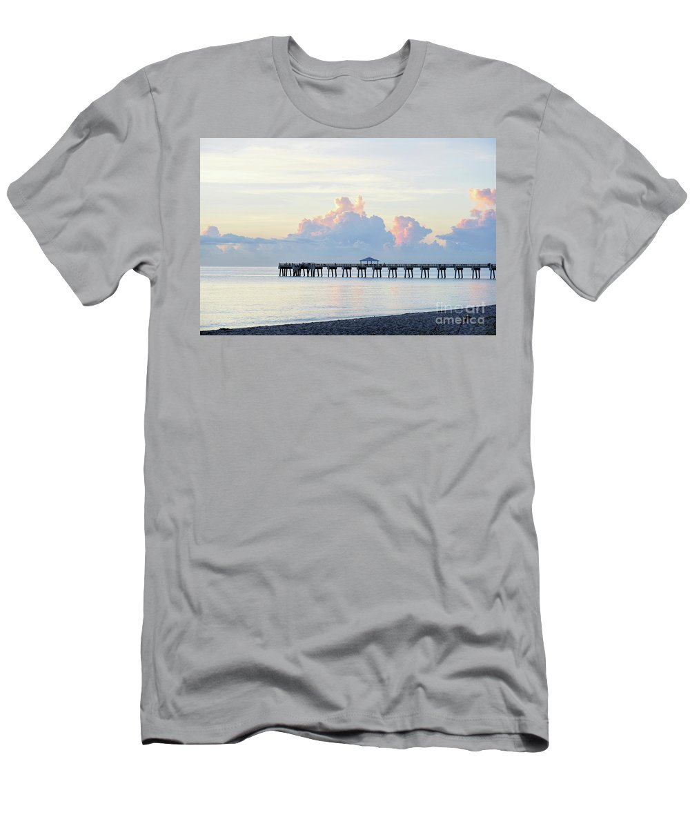 Pier Men's T-Shirt (Athletic Fit) featuring the photograph Just Before Sunrise by William Tasker