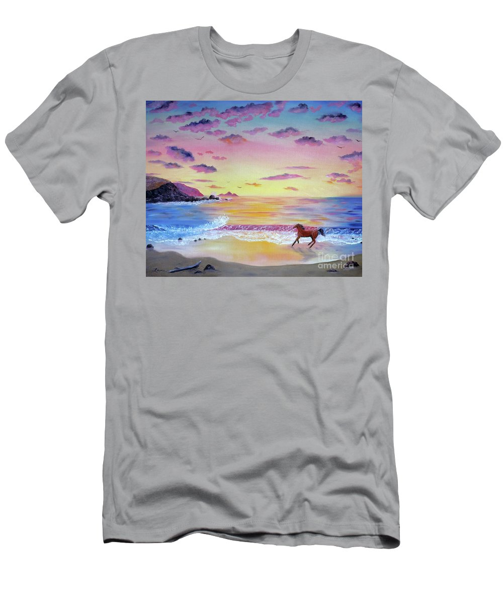 California Men's T-Shirt (Athletic Fit) featuring the painting Kachina At Rockaway Beach by Laura Iverson