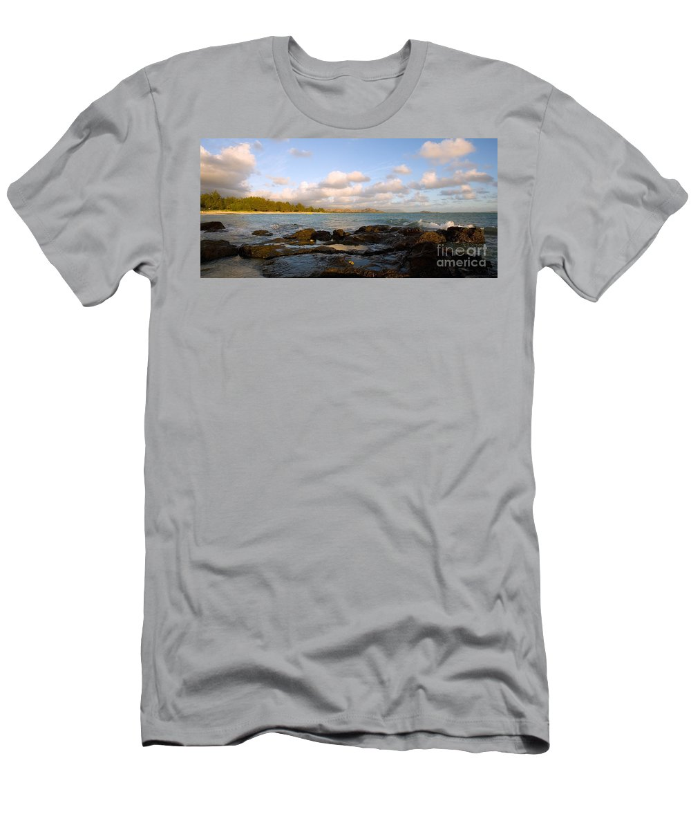 Bay Men's T-Shirt (Athletic Fit) featuring the photograph Kailua Bay Sunrise by Dana Edmunds - Printscapes