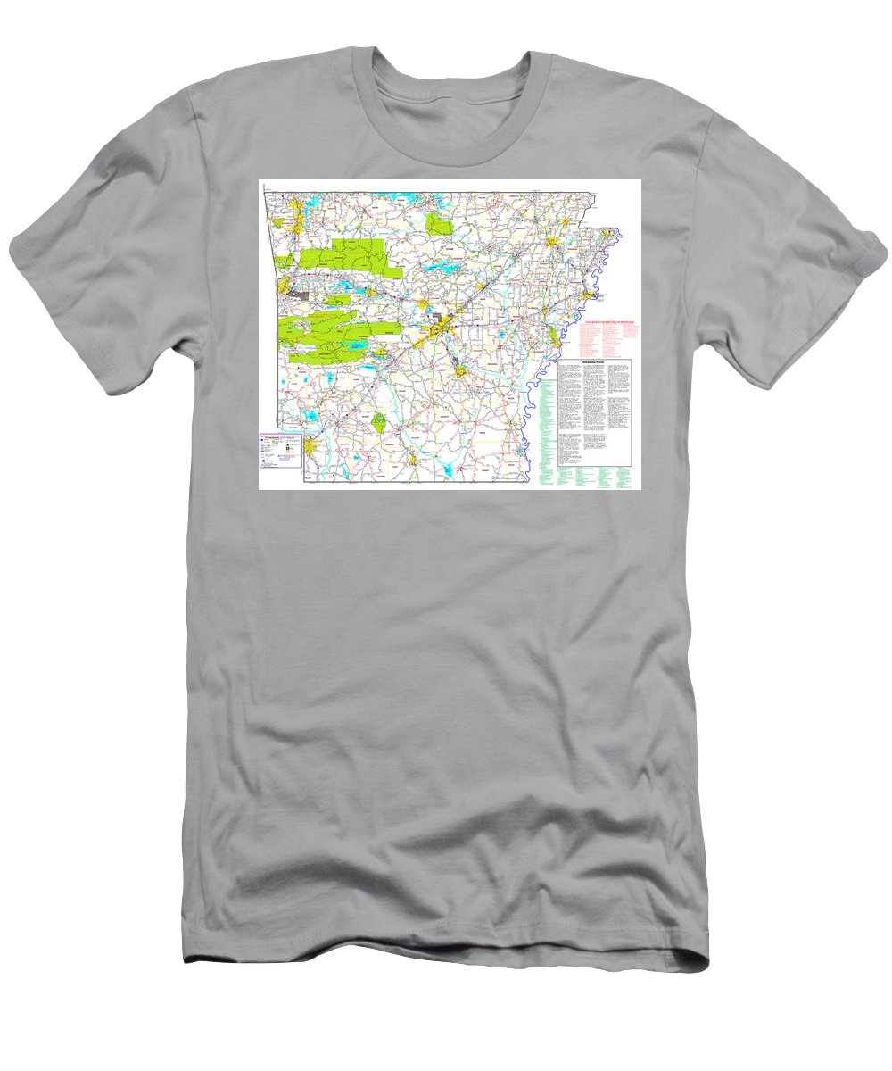 Map Men's T-Shirt (Athletic Fit) featuring the digital art Kamkam Arkansas Highway Map by Kameron Sharpe