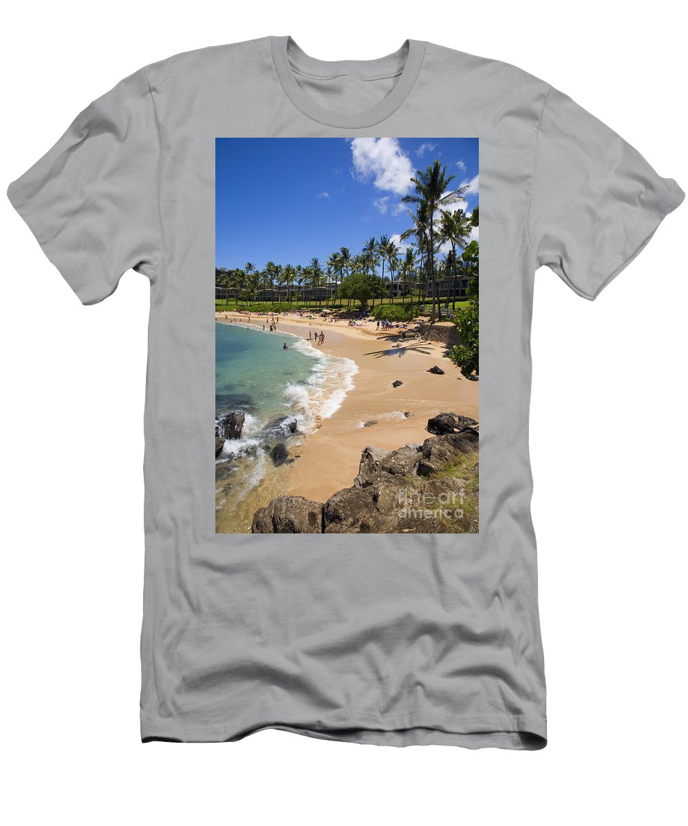 Bay Men's T-Shirt (Athletic Fit) featuring the photograph Kapalua Beach Resort by Ron Dahlquist - Printscapes