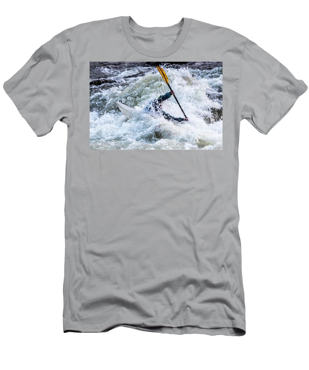 Kayak Men's T-Shirt (Athletic Fit) featuring the photograph Kayaker In Action At Pipeline Rapids In James River 5956c by Doug Berry