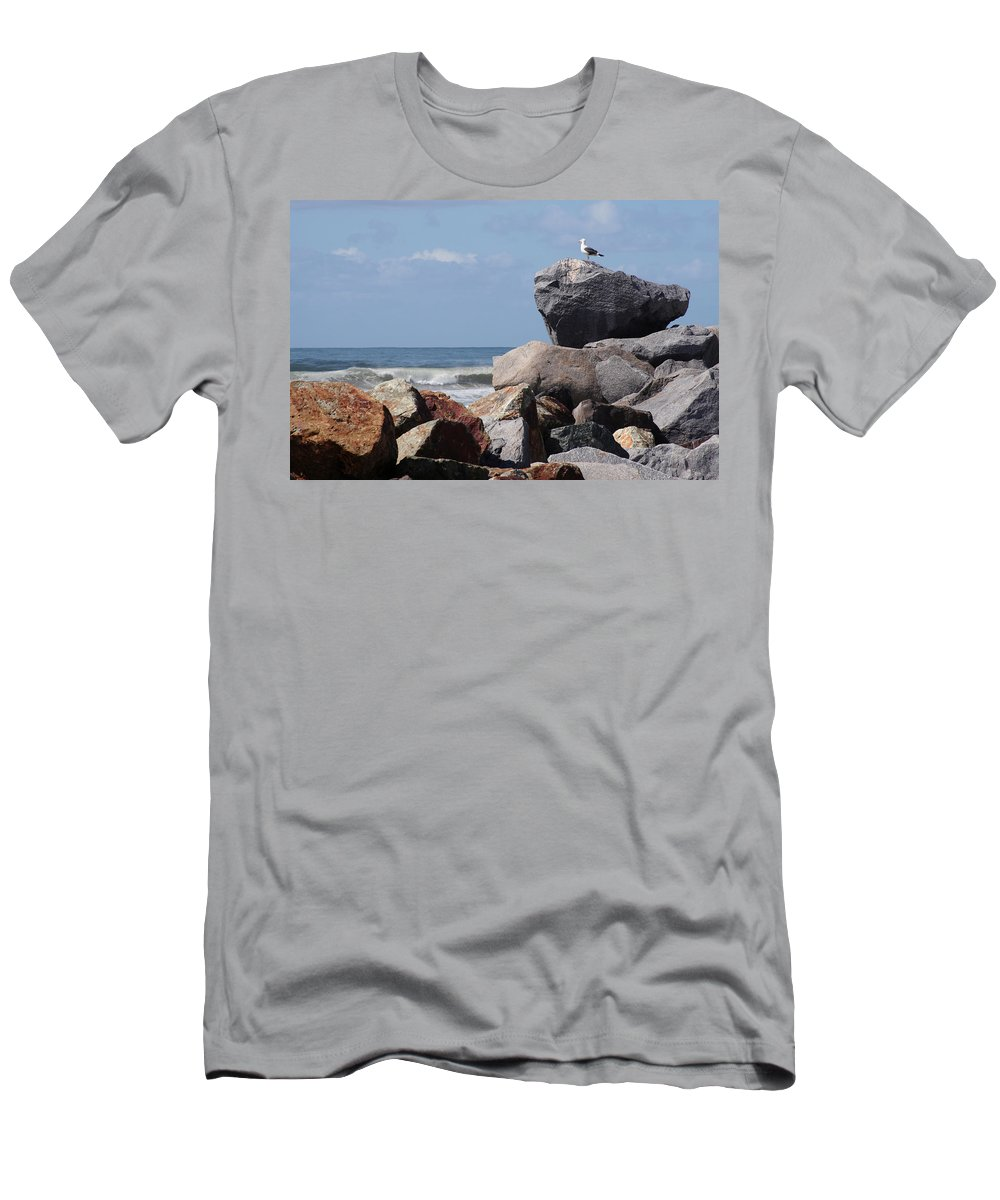 Beach Men's T-Shirt (Athletic Fit) featuring the photograph King Of The Rocks by Margie Wildblood