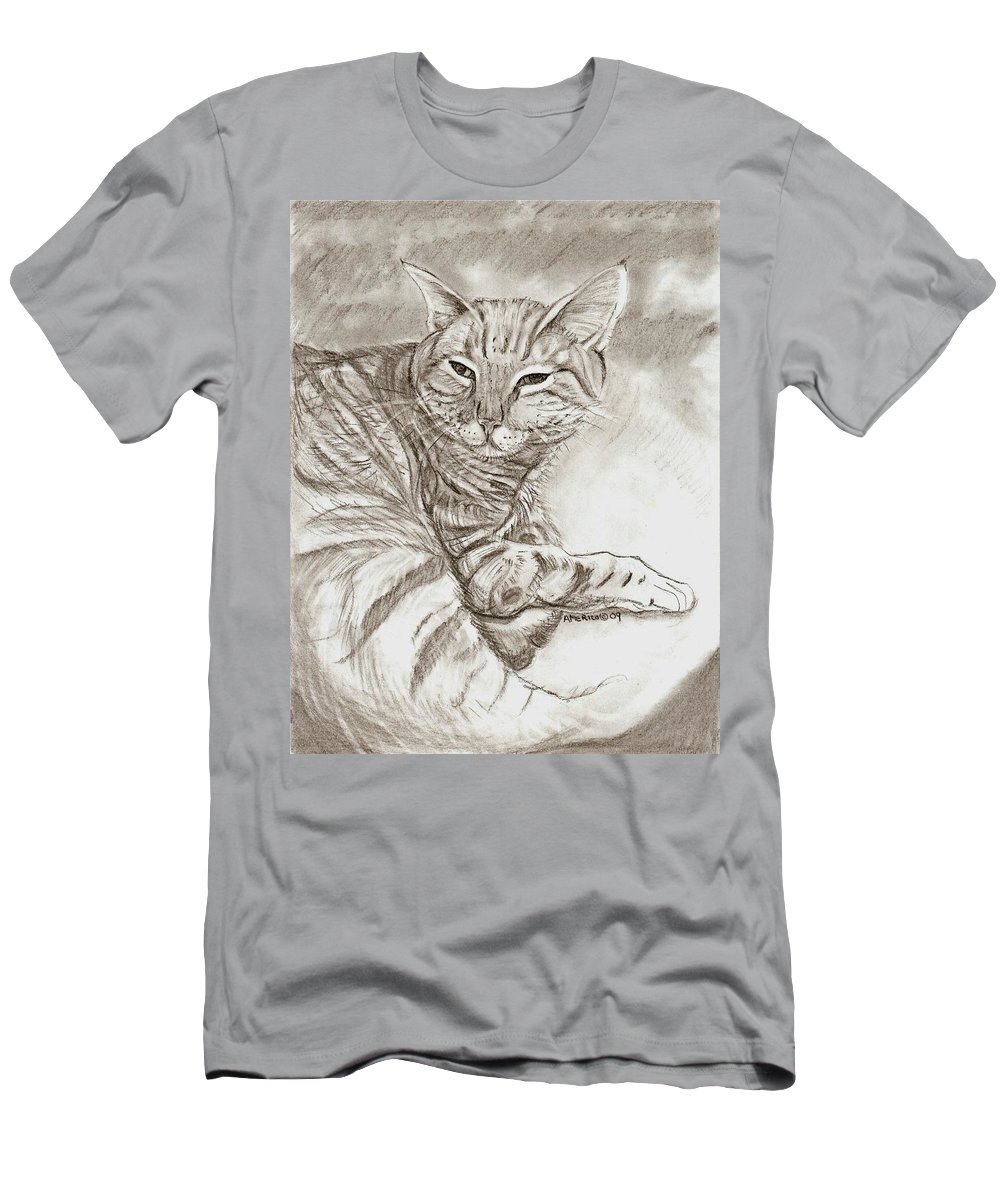 Cat T-Shirt featuring the drawing Kitty Cat by Americo Salazar