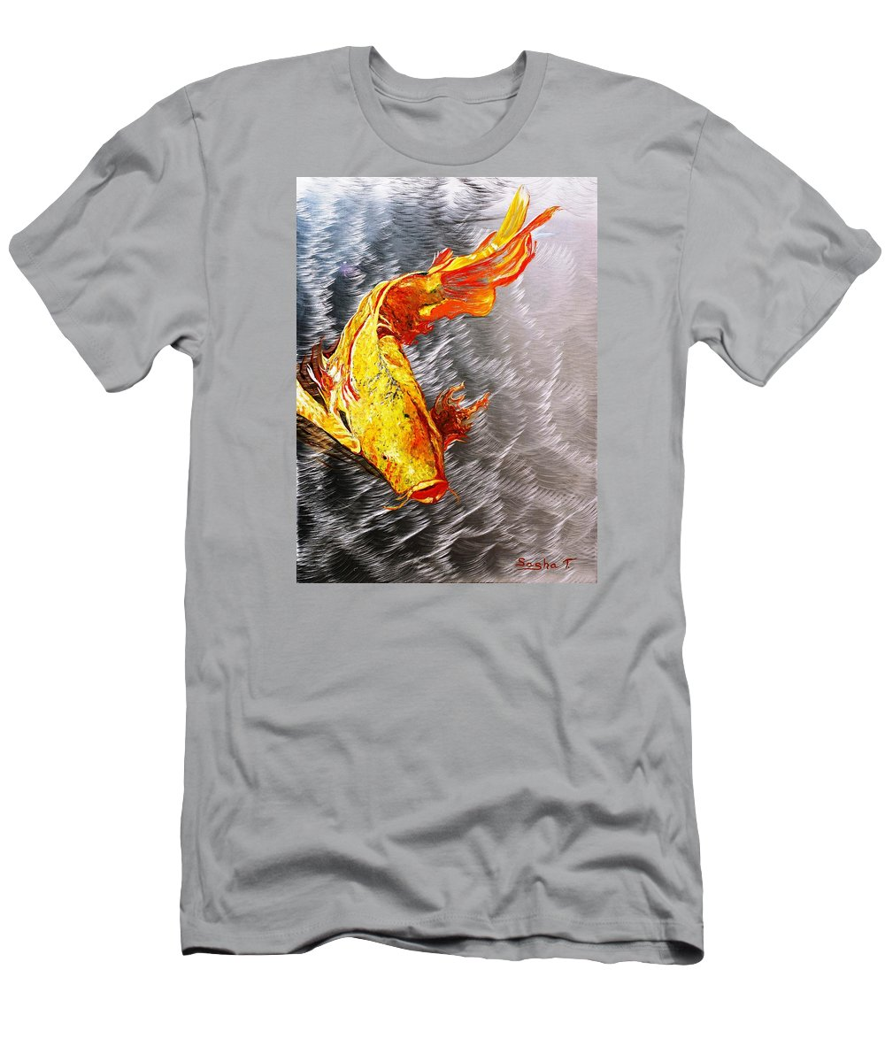 Koi Fish Metal Art Oil Painting Men's T-Shirt (Athletic Fit) featuring the painting Koi Fish Aluminum Print, Unique Gift For Any Home Or Office. 'the Silver Koi'. by Sasha Toporovsky