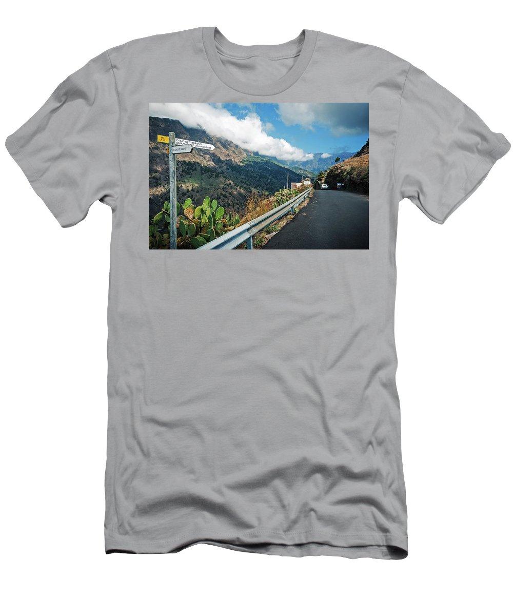 La Palma Men's T-Shirt (Athletic Fit) featuring the photograph La Palma - Barranco De Las Angustias by Alexander Voss
