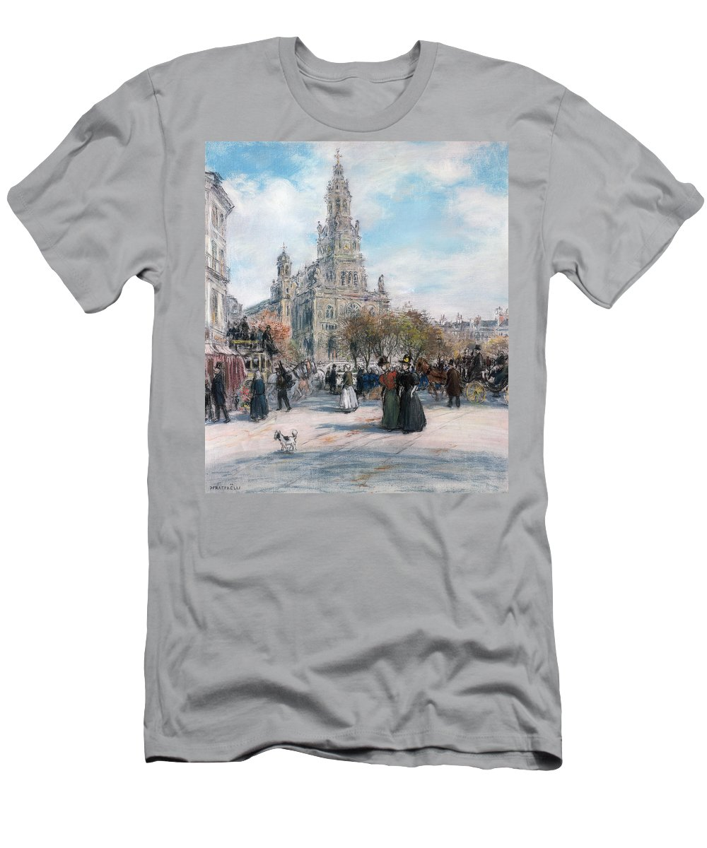 Paris Men's T-Shirt (Athletic Fit) featuring the pastel La Place De Trinite by Jean Francois Raffaelli