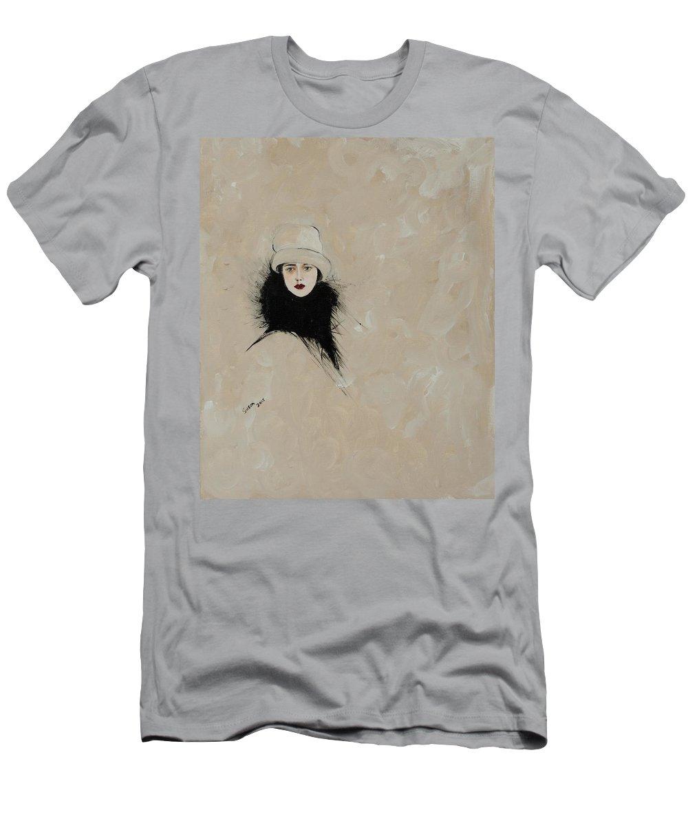 Lady With Black Fur Men's T-Shirt (Athletic Fit) featuring the painting Lady With Black Fur by Susan Adams