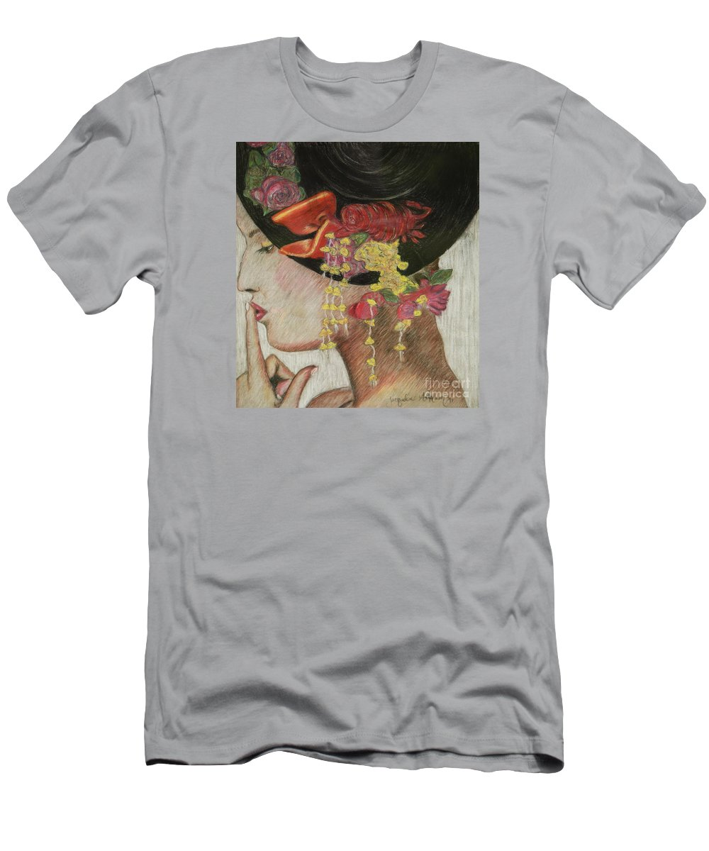 Lady With Hat Men's T-Shirt (Athletic Fit) featuring the drawing Lady With Hat by Jacqueline Athmann
