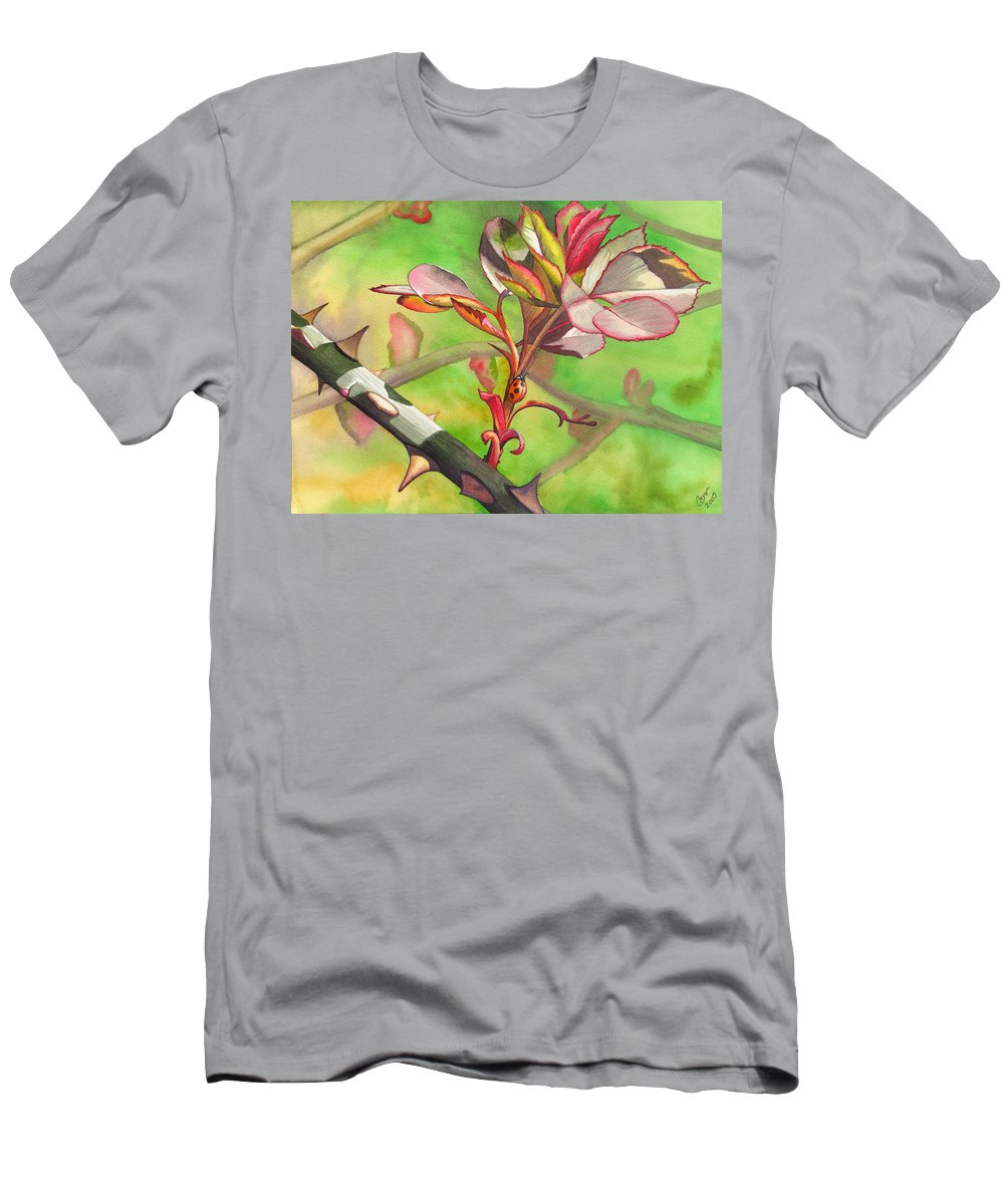 Ladybug Men's T-Shirt (Athletic Fit) featuring the painting Ladybug by Catherine G McElroy