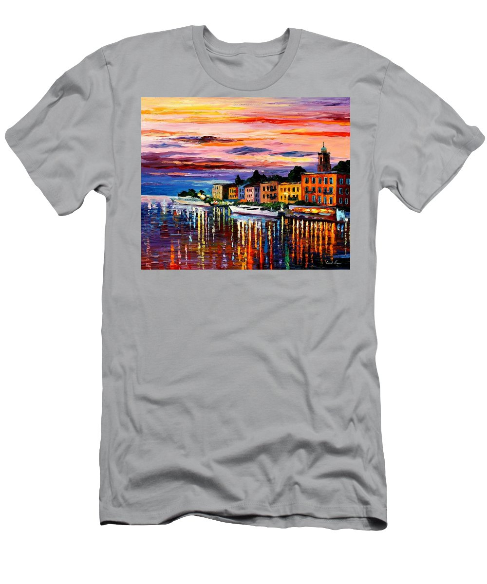 Cityscape Men's T-Shirt (Athletic Fit) featuring the painting Lake Como - Bellagio by Leonid Afremov